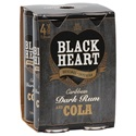 Picture of Black Heart 7% Dark Rum & Cola 4pk Cans 300ml